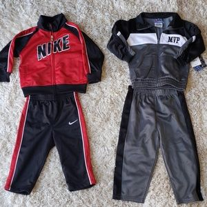 2 sets- 1 nike tracksuit and 1 MVP tracksuit. 12m